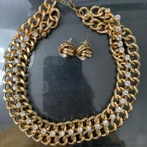 Jewelry - Gold Chunky Diamond Choker and Earring Set